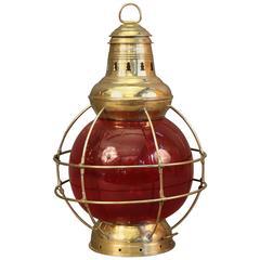 Solid Brass Ruby Red Perkins Lantern