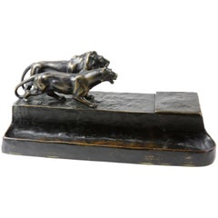 Art Deco Signed Austrian Bronze Lion and Lioness Inkwell Desk Stand F.Gornik