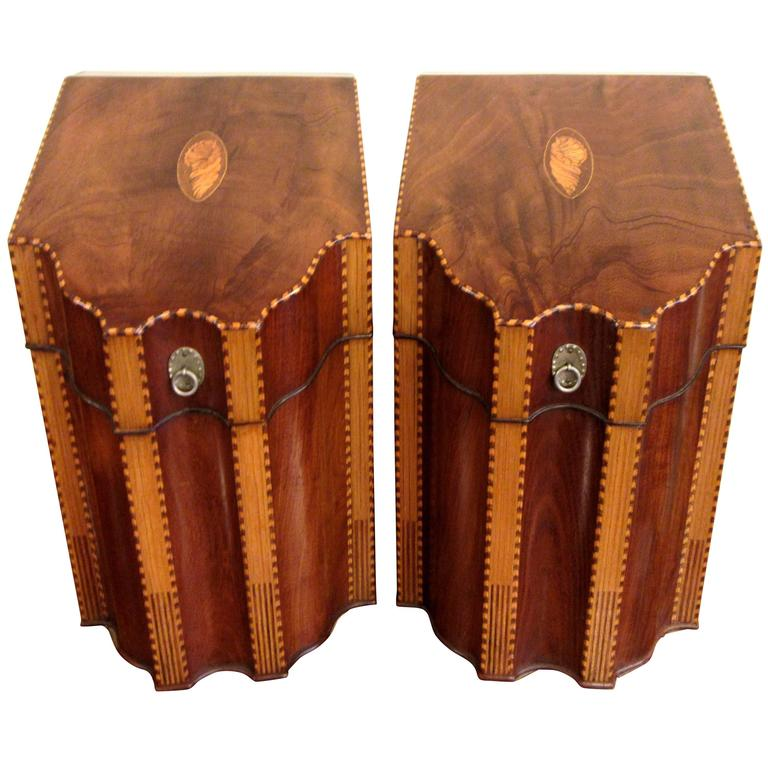 Fine Pair of 18th Century English Inlaid Mahogany Knife Boxes For Sale