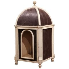 Carved Hand Painted and Leather French Dog House with Dome Top