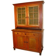 Pennsylvania Red-Painted Pine Two-Part Dutch Cupboard
