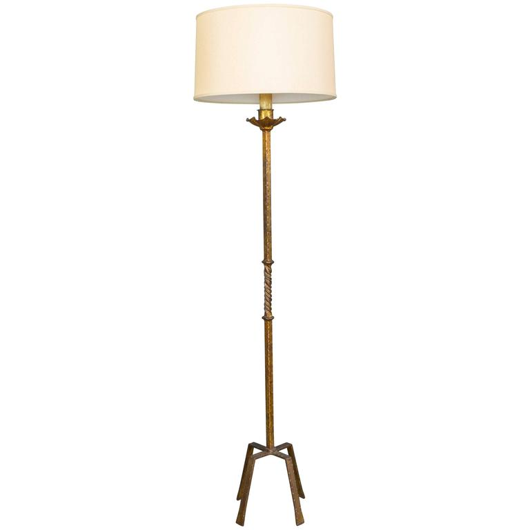 Midcentury modern gilt iron floor lamp for sale