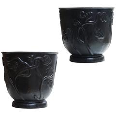 Magnificent Pair of Planters with Stylized Flora Reliefs by Carl Malmsten