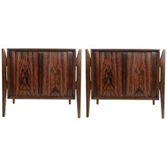 Danish Modern Jorgen Clausen Rosewood Stilted Leg Nightstands Bedside Tables