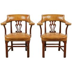 Pair of Mid-20th Century Kittinger Mahogany and Leather Armchairs