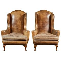 Pair of 19th Century Queen Anne Leather Wing Chairs