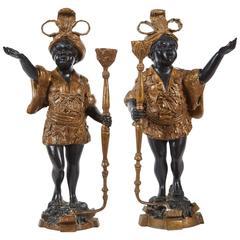 Pair of 20th Century Patinated Bronze Blackamoors