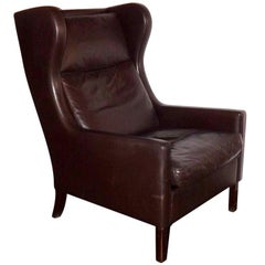 Borge Mogensen Brown Leather Wing Chair