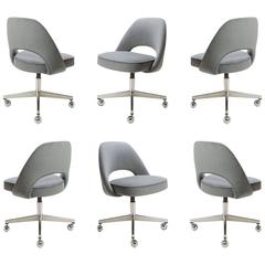 Saarinen Executive Armless Chairs in Gray Moleskin, Swivel Base, Set of Six