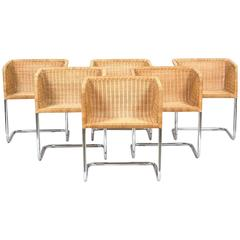 Six Fabricius and Kastholm Chrome and Wicker Dining Chairs