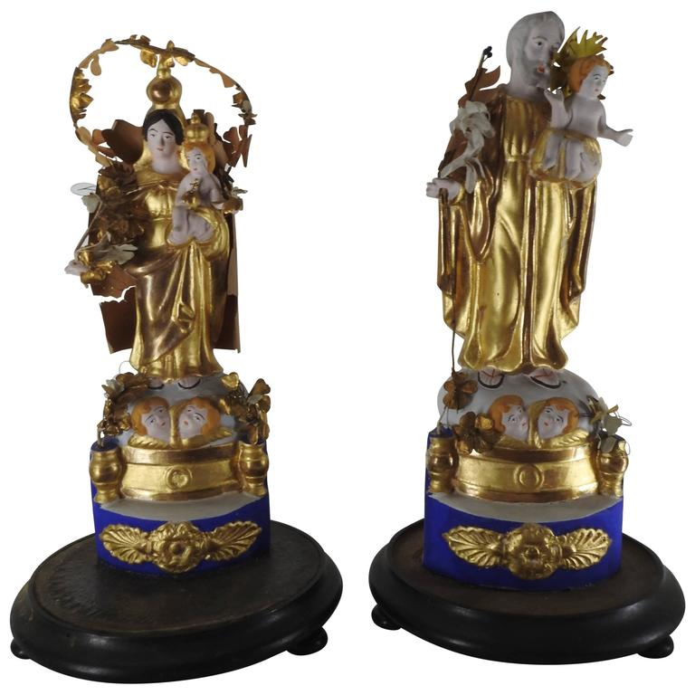 Pair of Italian Gilded Religious Sculptures For Sale