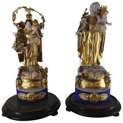 Pair of Italian Gilded Religious Sculptures