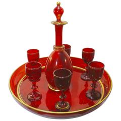 Antique French Red Crystal Aperitif Service