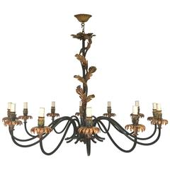Twelve Lights Lacquered Wrought Iron Chandelier