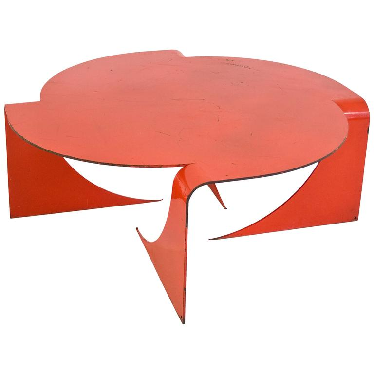 "Red Steel ""Manifold"" Coffee Table by Anthony Leyland, circa 2009, England"