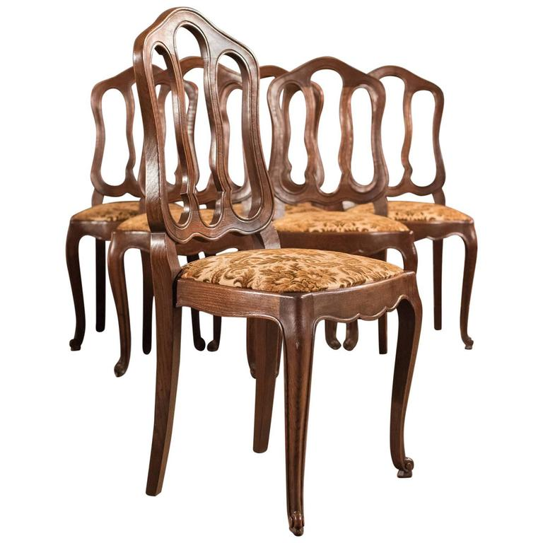 Set of Six Antique French Dining Chairs, Country Oak, circa 1900