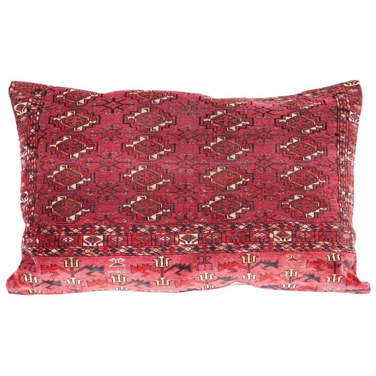 Antique Large Floor Pillow Made Out of a Turkmen Tekke Chuval For Sale