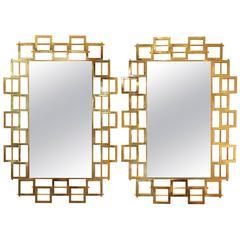 Pair of Large Modern Gilt Brass Mirrors