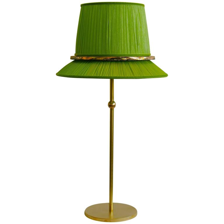 Pretty Table Lamp Console Grass Silk Shade Silvered Glass