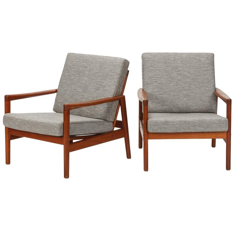 Danish Pair Of Hans Olsen Chairs Juul Kristensen Teak, 1950s 1