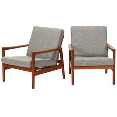 Danish Pair of Hans Olsen Chairs Juul Kristensen Teak, 1950s