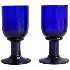 Pair of Wine Glasses or Drinking Goblets Bristol Blue Thick Stems, Circa 1880