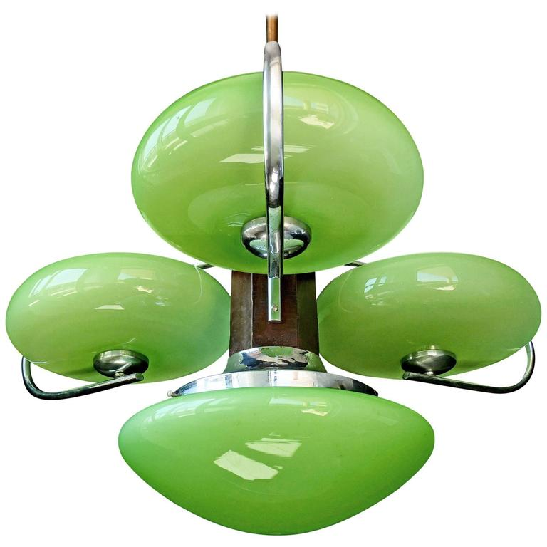 Antique french art deco opaline green glass shadesfour light chrome antique french art deco opaline green glass shadesfour light chrome chandelier for aloadofball Gallery