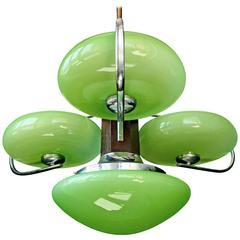 Antique French Art-Deco Opaline Green Glass Shades/Four-Light Chrome Chandelier