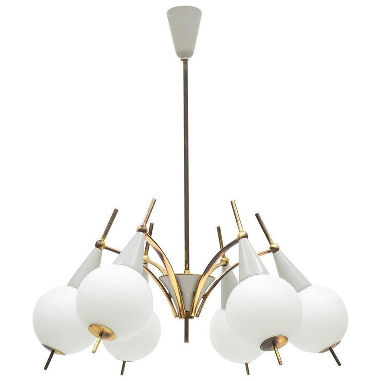 Italian Brass and Satin Glass Chandelier in the style of Angelo Lelii, 1950s For Sale