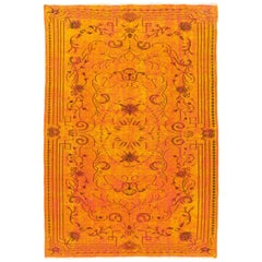 6x9 Ft Vintage Rug Overdyed in Burnt Orange Color