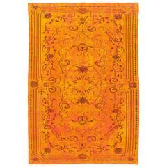 Vintage Rug Overdyed in Burnt Orange Color