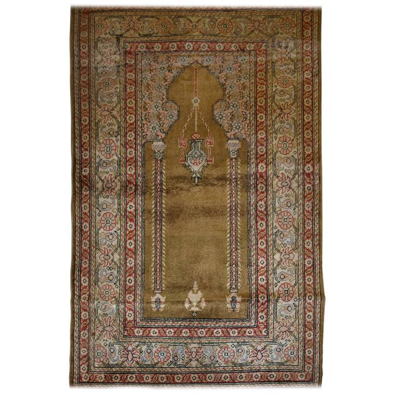 Antique Anatolian Kayseri 'Art Silk' Prayer Rug