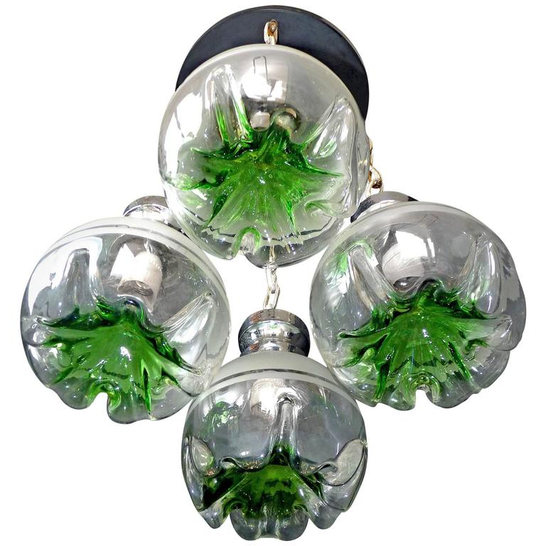1960s Italian Modernist Murano Mazzega Art Glass Chrome Cascade Chandelier