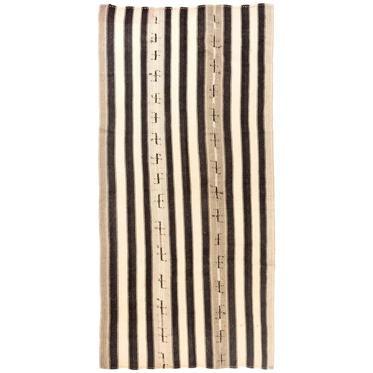 Vintage Anatolian Kilim Rug with Vertical Bands