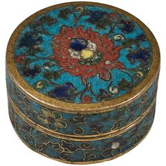 15th Century Ming Dynasty Small Chinese Gilt Bronze and Cloisonné Round Box