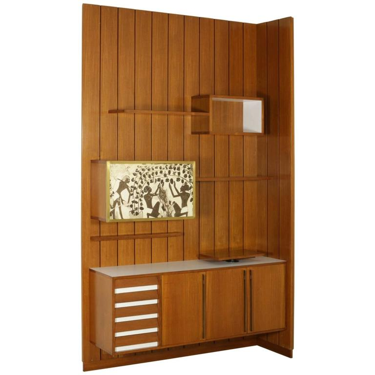 Sitting Room Cabinet Teak Veneer Formica Brass Screen Printed Panel, 1960s