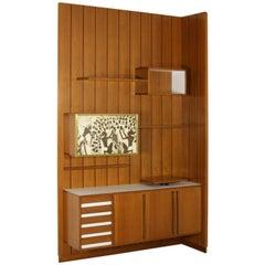 Sitting Room Cabinet Teak Veneer Formica Brass Screen Printed Panel, 1960s