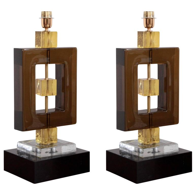 Pair of Huge Colored Murano Glass and Brass Table Lamps