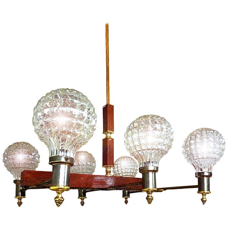 Large Billiard French Art Deco Bronze Wood Six-Light Ice Glass Shades Chandelier