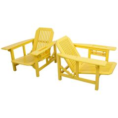 Pair of Restored Pierre Dariel Patio Outdoor Lounge Chairs