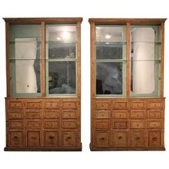Pair of Spanish 19th Century Bookcases or Display Cabinets with Original Paint