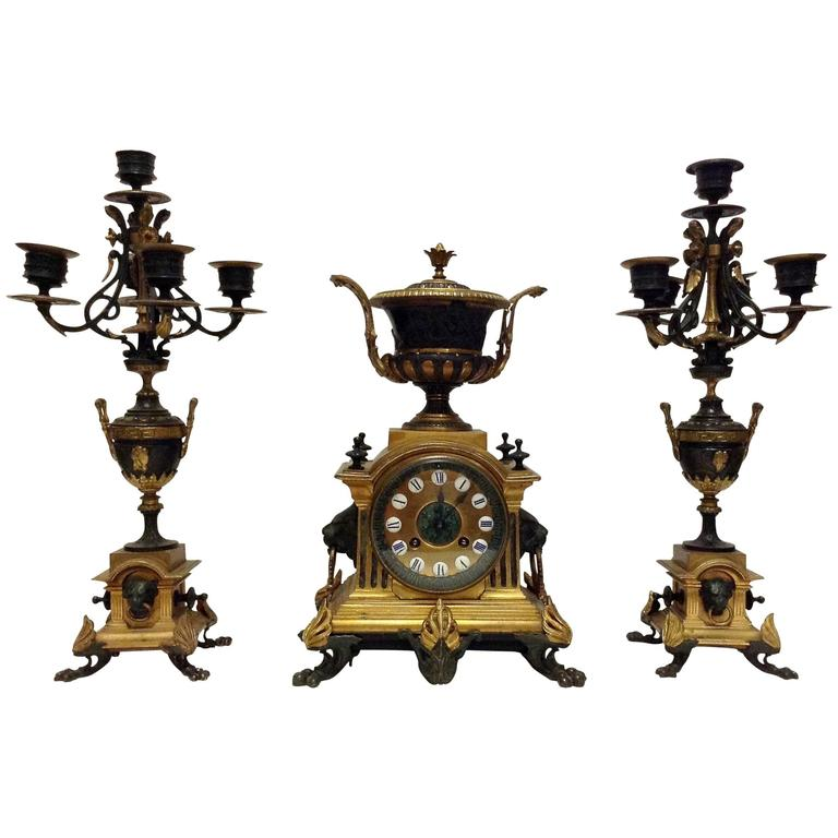 French Bronze Clock Garniture with Urn and Lion Motif by Japy Freres