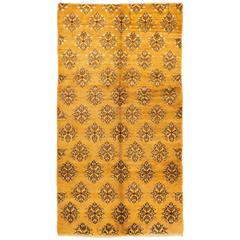 Unusual Karapinar Rug in Mustard Yellow Color