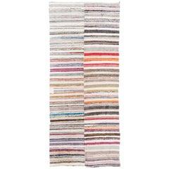 5x12 Ft Vintage Cotton Rag Rug. Flat-Weave Kilim. Reversible Floor Covering