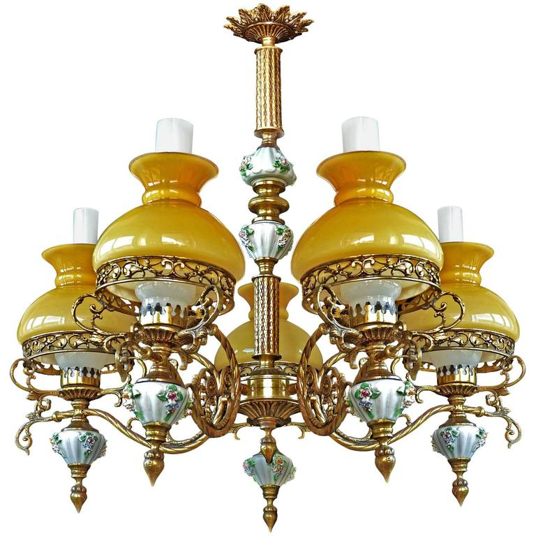 Antique French Victorian Porcelain/Bronze/Opaline Yellow Glass Shades Chandelier For Sale