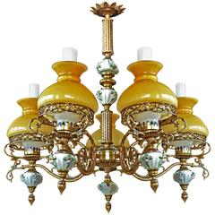 Antique French Victorian Limoges Porcelain/Bronze/Yellow Glass Shades Chandelier