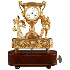 Restauration Bronze Clock with Music Box by Angevin in Paris