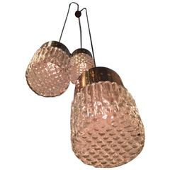 Italian 1950s Triple Pendant Light in the Style of Stilnovo