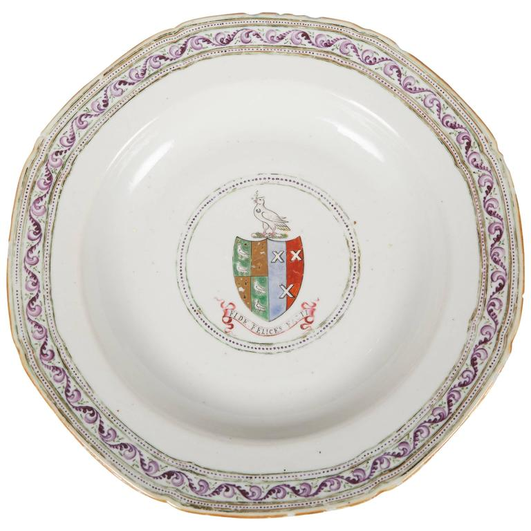 18th Century Chinese Export Armorial Soup Plate