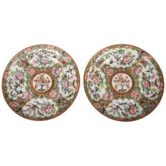 Pair of Chinese Export Rose Medallion Armorial Small Plates